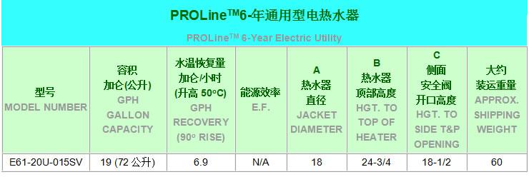 美国人PROLineTM通用型家用电热水器